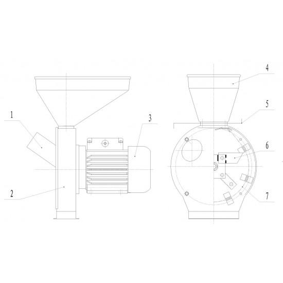 Electrica Moara de Macinat Cereale Stiuleti si Uruiala - 2.5KW