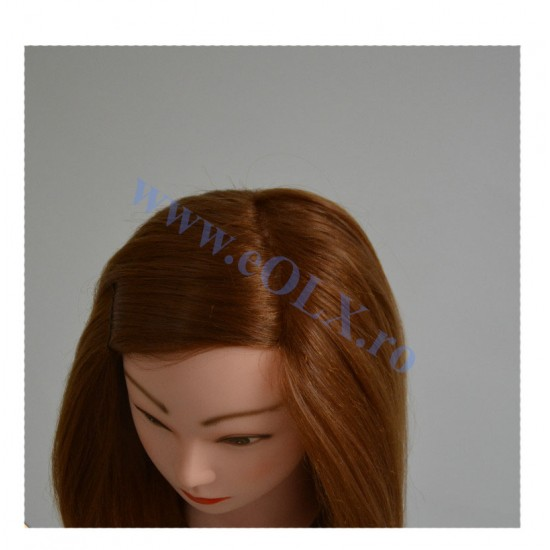 Cap Manechin cu Par Natural Blond 100% Lungime 55 cm